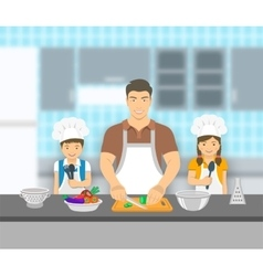 Father and kids cooking together at kitchen flat vector