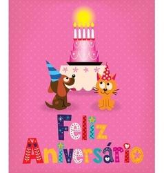 Feliz aniversario brazilian portuguese happy vector