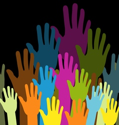 group of color hands on black background vector image vector image