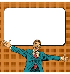 Happy businessman welcomes on white background vector