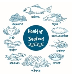 Healthy line doodle seafood vector image vector image