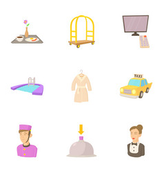 hotel staff icons set cartoon style vector image vector image