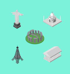 Isometric attraction set of rio athens india vector