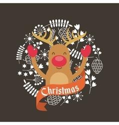 merry christmas reindeer decoration card vector image