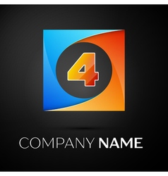 Number four logo symbol in the colorful square on vector image vector image