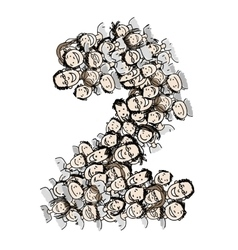 Number two people crowd alphabet design vector