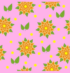 pattern of orange flowers with green leaves on a vector image vector image