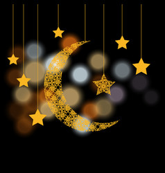 Ramadan crescent with the stars background of vector
