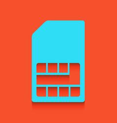 Sim card sign whitish icon on brick wall vector