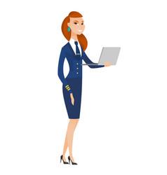 Stewardess using laptop vector