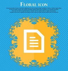 Text File document Floral flat design on a blue vector image