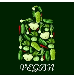Vegan cutting board icon with healthy vegetables vector