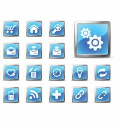 web icons glossy blue vector image