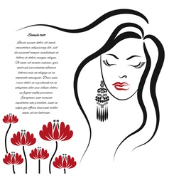 Woman with long hair and flowers vector image vector image