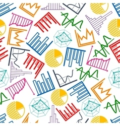 Business graphs and charts seamless pattern vector
