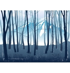 Forest landscape with mountains vector