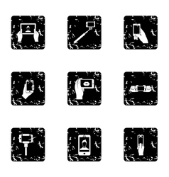 Shooting on cell phone icons set grunge style vector