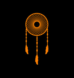 Dream catcher sign orange icon on black vector