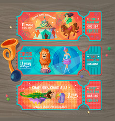 cartoon circus show invitation tickets set vector image