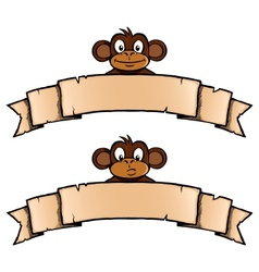 Monkey with ribbon banner vector