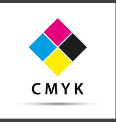 Abstract logo in the shape of a diamond with cmyk vector