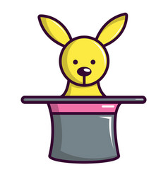 cute bunny rabbit in magic hat icon cartoon style vector image