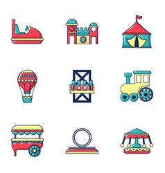 entertainment for children icons set flat style vector image