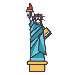 liberty statue new york flat line vector image