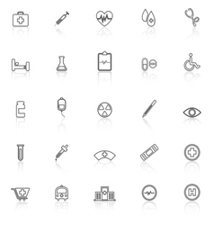Medical line icons with reflect on white vector
