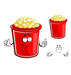 Red bucket of caramel popcorn vector