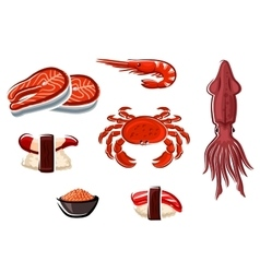 Fresh seafood and sea animals vector