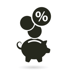 Percent saving piggy bank vector