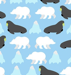 Walrus and polar bear seamless pattern background vector