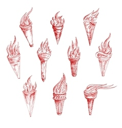 Vintage sketch drawings of red burning torches vector