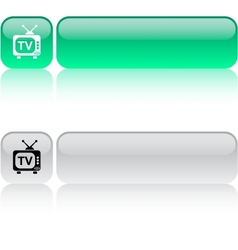 Tv square button vector