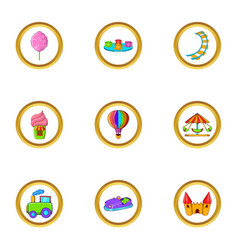 Amusement rest icon set cartoon style vector