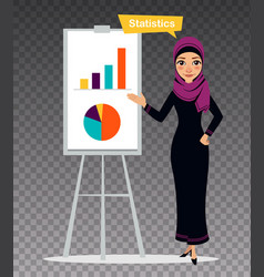 Arab woman is engaged in statistics vector