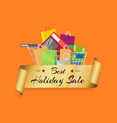 best holiday sale banner cart full of shopping bag vector image vector image