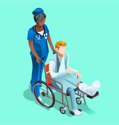 black female nurse and patient isometric people vector image vector image