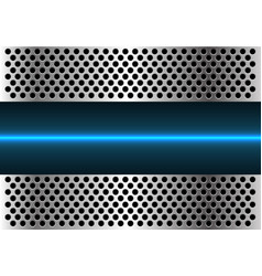 Blue light line technology in metal circle mesh vector