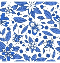 Blueberry seamless pattern with floral elements vector
