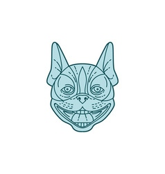Boston terrier laughing circle mono line vector