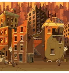 Cartoon ruined city after the apocalypse vector