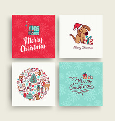 christmas cute hand drawn puppy holiday card set vector image