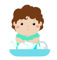Cute boy washing hands vector