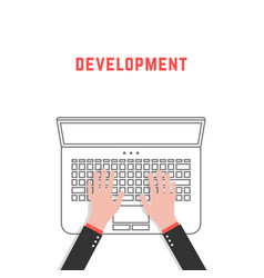 Development with thin line laptop and hands vector