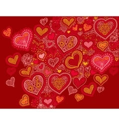 drawing heart shape background in red colors to vector image vector image