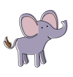 Elephant cartoon in watercolor silhouette with vector