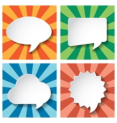 Empty speech bubbles paper on sun burst retro vector