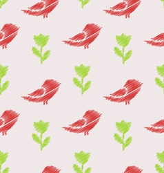 Floral Seamless Pattern with Abstract Birds and vector image